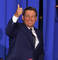 MIAMI, FLORIDA - FEBRUARY 18: Gov. Ron DeSantis along with President Donald Trump and First Lady Melania Trump attend a rally at Florida International University on February 18, 2019 in Miami, Florida. President Trump spoke about the ongoing crisis in Venezuela.<br /> <br /> People: Gov. Ron DeSantis