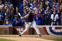 Cleveland Indians Mike Napoli (26) bats in the ninth inning during Game 5 of the Major League Baseball World Series against the Chicago Cubs on October 30, 2016 at Wrigley Field in Chicago, Illinois.  (Mike Janes/Four Seam Images)