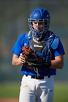 Max Caron (18), from Lewis Center, Ohio, while playing for the Dodgers during the Baseball Factory Pirate City Christmas Camp & Tournament on December 28, 2017 at Pirate City in Bradenton, Florida.  (Mike Janes/Four Seam Images)
