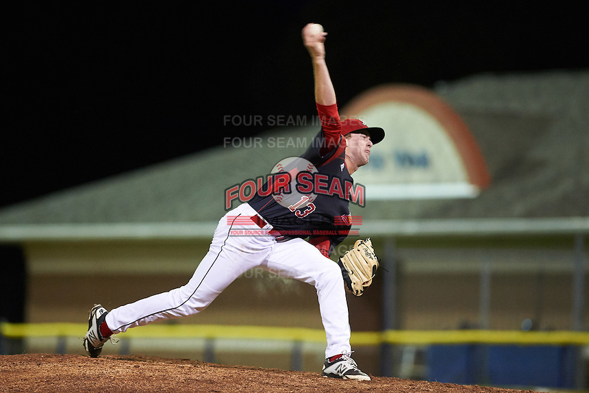Batavia Muckdogs relief pitcher Travis Neubeck (13) during a game against the Williamsport Crosscutters on September 1, 2016 at Dwyer Stadium in Batavia, New York.  Williamsport defeated Batavia 10-3. (Mike Janes/Four Seam Images)