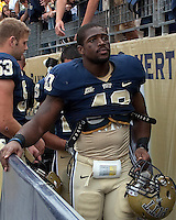 Pitt linebacker Dan Mason leaves the field after the Pitt victory. The Pittsburgh Panthers defeat the New Hampshire Wildcats 38-16 at Heinz Field, Pittsburgh Pennsylvania on September 11, 2010.