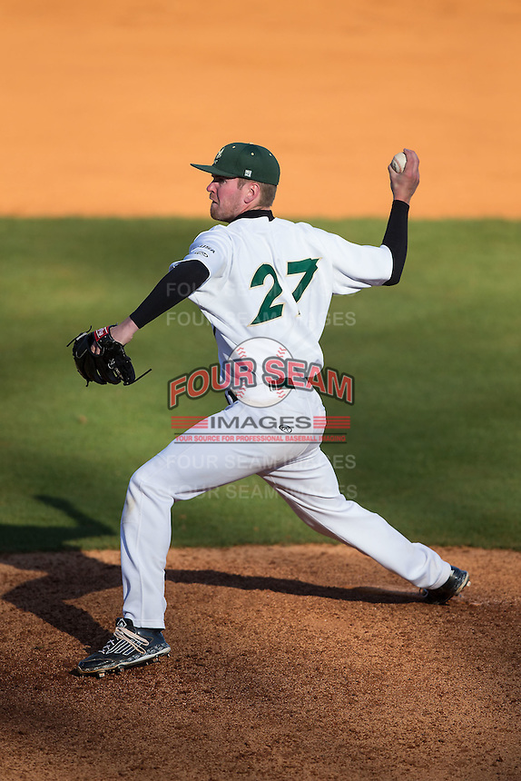 Charlotte 49ers relief pitcher Trevor Gay (27) delivers a pitch to the plate against the Louisiana Tech Bulldogs at Hayes Stadium on March 28, 2015 in Charlotte, North Carolina.  The 49ers defeated the Bulldogs 9-5 in game two of a double header.  (Brian Westerholt/Four Seam Images)