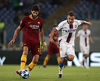 Football Soccer: UEFA Champions League  AS Roma vs PFC CSKA Mosca Stadio Olimpico Rome, Italy, October 23, 2018. <br /> Roma's Federico Fazio (l) in action with CSKA Mosca's Fedor Chalov (r) during the Uefa Champions League football soccer match between AS Roma and PFC CSKA Mosca at Rome's Olympic stadium, October 23, 2018.<br /> UPDATE IMAGES PRESS/Isabella Bonotto