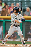 Forrestt Allday (13) of the El Paso Chihuahuas bats against the Salt Lake Bees at Smith's Ballpark on July 5, 2018 in Salt Lake City, Utah. El Paso defeated Salt Lake 3-2. (Stephen Smith/Four Seam Images)