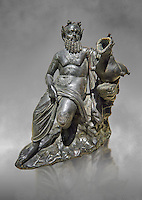 Roman Bronze sculpture of Silenus from atrium of the Villa of the Papyri in Herculaneum, Museum of Archaeology, Italy, grey art background
