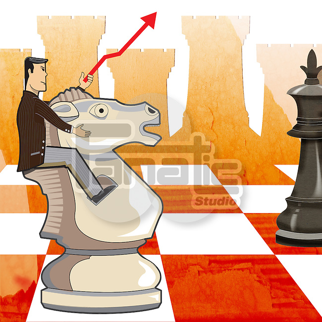 Businessman riding horse of chess piece on board depicting business strategy
