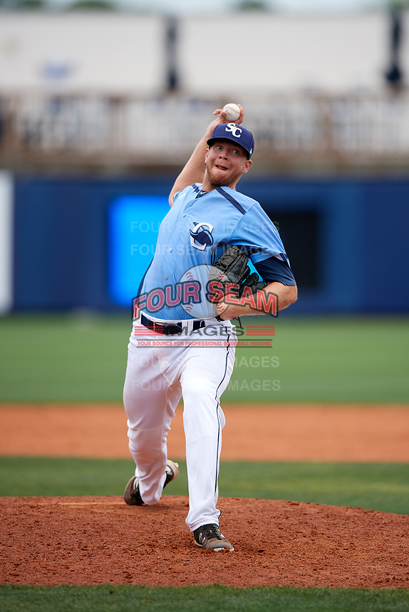 Charlotte Stone Crabs relief pitcher Bryan Bonnell delivers a pitch during a game against the Palm Beach Cardinals on April 12, 2017 at Charlotte Sports Park in Port Charlotte, Florida.  Palm Beach defeated Charlotte 8-7.  (Mike Janes/Four Seam Images)