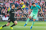 Goalkeeper Jan Oblak (l) of Atletico de Madrid tries to save a goal attempt by Luis Suarez of FC Barcelona during their La Liga match between Atletico de Madrid and FC Barcelona at the Santiago Bernabeu Stadium on 26 February 2017 in Madrid, Spain. Photo by Diego Gonzalez Souto / Power Sport Images