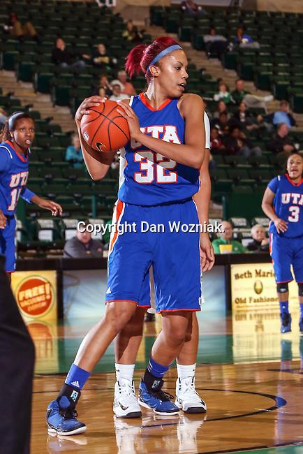 Texas Arlington Mavericks forward Aron Garcia (32) in action during the game between the Texas Arlington Mavericks and the North Texas Mean Green at the Super Pit arena in Denton, Texas. UTA defeats UNT 59 to 50...