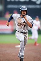 San Antonio Missions shortstop Jose Rondon (13) runs the bases during a game against the Springfield Cardinals on June 4, 2017 at Hammons Field in Springfield, Missouri.  San Antonio defeated Springfield 6-1.  (Mike Janes/Four Seam Images)