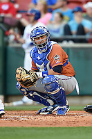 Durham Bulls catcher Ali Solis (44) looks to the dugout during a game against the Buffalo Bisons on July 10, 2014 at Coca-Cola Field in Buffalo, New  York.  Durham defeated Buffalo 3-2.  (Mike Janes/Four Seam Images)