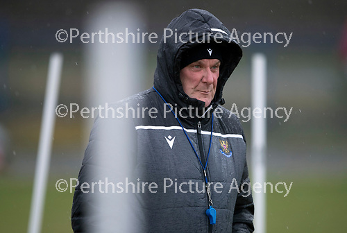 St Johnstone Training…….14.02.20<br />Manager Tommy Wright pictured in the rain during this morning's training session at McDiarmid Park ahead of tomorrows game against Ross County.<br />Picture by Graeme Hart.<br />Copyright Perthshire Picture Agency<br />Tel: 01738 623350  Mobile: 07990 594431