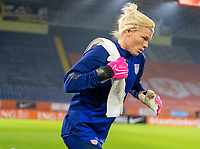 BREDA, NETHERLANDS - NOVEMBER 27: Jane Campbell #18 of the USWNT steps onto the field before a game between Netherlands and USWNT at Rat Verlegh Stadion on November 27, 2020 in Breda, Netherlands.