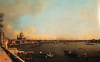"""London:   """"View East of Thames from Somerset House"""", oil painting by Canaletto.  Reference only."""