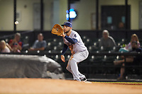 Pensacola Blue Wahoos first baseman Eric Jagielo (7) waits to receive a throw during a game against the Mobile BayBears on April 25, 2017 at Hank Aaron Stadium in Mobile, Alabama.  Mobile defeated Pensacola 3-0.  (Mike Janes/Four Seam Images)