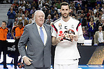 Real Madrid's receives Euroleague MVP February in presence of leyend player Emiliano Rodriguez during Euroleague match.March 12,2015. (ALTERPHOTOS/Acero)