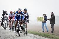 Philippe Gilbert (BEL/Deceuninck-Quick Step) , Peter Sagan (SVK/Bora Hansgrohe), Nils Politt (GER/Katusha Alpecin) riding in front. <br /> <br /> <br /> 117th Paris-Roubaix (1.UWT)<br /> 1 Day Race: Compiègne-Roubaix (257km)<br /> <br /> ©kramon