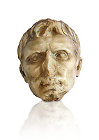 Roman sculpture of the Emperor Augustus, excavated from El-Jem, sculpted circa 27BC-14AD The Bardo National Museum, Tunis, Inv No: C. 72.  Against a white background.