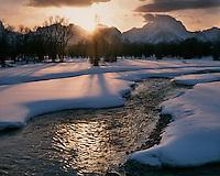 Sunset light on the Snake River and the Teton Range; Grand Teton National Park, WY