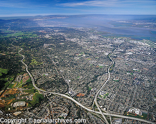 aerial photograph Mountain View, Palo Alto, San Francisco Peninsula, I-280, Highway 85, Santa Clara county, California