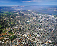 aerial photograph Mountain View, Palo Alto, San Francisco Peninsula, I-280, Highway 85, Santa Clara county, California