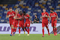 Quincy Promes of FC Spartak Moskva celebrates with team mates after scoring the goal 1-1 during the Europa league group C 2021/2022 football match between SSC Napoli and FC Spartak Moskva at Diego Armando Maradona stadium in Napoli (Italy), September 30th, 2021. <br /> Photo Cesare Purini / Insidefoto