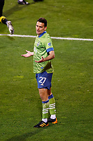 COLUMBUS, OH - DECEMBER 12: Shane O'Neill #27 of Seattle Sounders FC reacts against Columbus Crew during a game between Seattle Sounders FC and Columbus Crew at MAPFRE Stadium on December 12, 2020 in Columbus, Ohio.