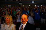 Jewish American billionaire Sheldon Adelson, and his wife, Miriam during a Taglit event in Jerusalem Sunday Aug 12 2007 . Photo by Eyal Warshavsky.