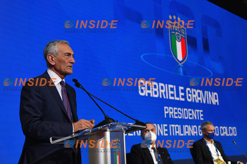 ROME, ITALY - FEBRUARY 22:  Gabriele Gravina speaks after being re-elected as President of Italian Football Federation (FIGC) after the FIGC Elective Assembly at Cavalieri Waldorf Astoria Hotel on February 21, 2021 in Rome, Italy. <br /> Photo Marco Rosi / FIGC / Insidefoto