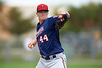 Minnesota Twins pitcher Kyle Gibson (44) during a Spring Training practice on March 1, 2016 at Hammond Stadium in Fort Myers, Florida.  (Mike Janes/Four Seam Images)