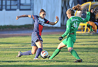 20131211 - HENIN-BEAUMONT , France :  PSG's Jessica Houara (left) pictured in a duel with Henin's  Thea Greboval (right) during the female soccer match between FC Henin Beaumont and Paris Saint-Germain Feminin , of the Ninth matchday in the French First Female Division . Wednesday 11 December 2013. PHOTO DAVID CATRY