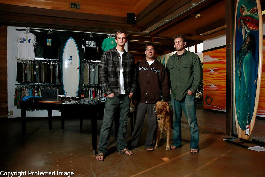 Friday, December 12, 2008.  Birdrock, La Jolla, CA:  Brothers Ben and Matt.  Store Manager Pat and Cooper the dog.