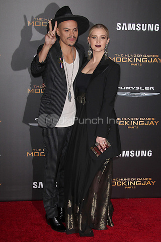 """LOS ANGELES, CA - NOVEMBER 16: Evan Ross and Ashlee Simpson at the Premiere Of """"The Hunger Games: Mockingjay - Part 2"""" At Microsoft Theater On November 16, 2015. Credit: mpi21/MediaPunch"""