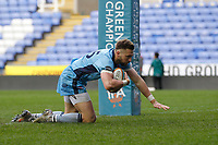TRY - Charlie Ingall of London Scottish scores during the Greene King IPA Championship match between London Irish Rugby Football Club  and London Scottish Football Club at the Madejski Stadium, Reading, England on 2 March 2019. Photo by Carlton Myrie.