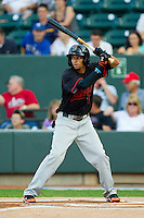 California League All-Star Billy Hamilton #4 of the Bakersfield Blaze at bat against the Carolina League All-Stars during the 2012 California-Carolina League All-Star Game at BB&T Ballpark on June 19, 2012 in Winston-Salem, North Carolina.  The Carolina League defeated the California League 9-1.  (Brian Westerholt/Four Seam Images)