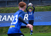 Jorge Akers throws in during the Central League football match between Miramar Rangers and Lower Hutt AFC at David Farrington Park in Wellington, New Zealand on Saturday, 10 April 2021. Photo: Dave Lintott / lintottphoto.co.nz