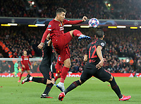 Liverpool's Roberto Firmino vies for possession with Atletico Madrid's Kieran Trippier (left) and Renan Lodi<br /> <br /> Photographer Rich Linley/CameraSport<br /> <br /> UEFA Champions League Round of 16 Second Leg - Liverpool v Atletico Madrid - Wednesday 11th March 2020 - Anfield - Liverpool<br />  <br /> World Copyright © 2020 CameraSport. All rights reserved. 43 Linden Ave. Countesthorpe. Leicester. England. LE8 5PG - Tel: +44 (0) 116 277 4147 - admin@camerasport.com - www.camerasport.com