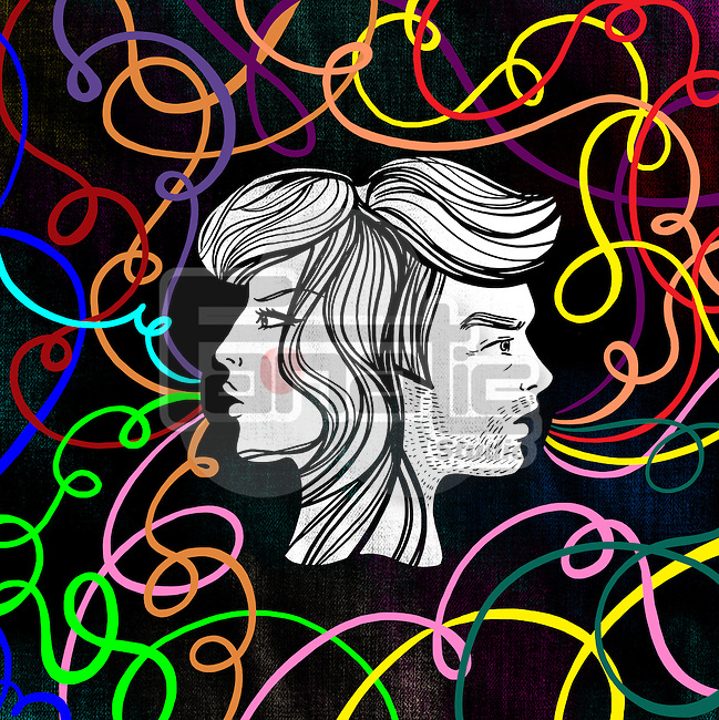 Illustrative image of couple with tangled lines representing relationship differences
