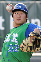 Catcher Jin-Ho Shin (32) of the Lexington Legends before a game against the Greenville Drive on Monday, July 22, 2013, at Fluor Field at the West End in Greenville, South Carolina. Lexington won, 7-3. (Tom Priddy/Four Seam Images)