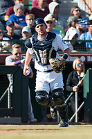Peoria Javelinas catcher Joe DeCarlo (4), of the Seattle Mariners organization, during the Arizona Fall League Championship Game against the Salt River Rafters at Scottsdale Stadium on November 17, 2018 in Scottsdale, Arizona. Peoria defeated Salt River 3-2 in 10 innings. (Zachary Lucy/Four Seam Images)