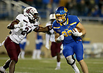 BROOKINGS, SD - MAY 2: Blake Kunz #88 of the South Dakota State Jackrabbits looks to make a move against Qua Brown #24 of the Southern Illinois Salukis at Dana J Dykhouse Stadium on May 2, 2021 in Brookings, South Dakota. (Photo by Dave Eggen/Inertia)
