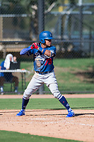 Los Angeles Dodgers outfielder Ismael Alcantara (73) at bat during an Instructional League game against the San Diego Padres at Camelback Ranch on September 25, 2018 in Glendale, Arizona. (Zachary Lucy/Four Seam Images)