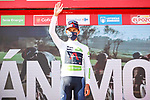 Egan Bernal (COL) Ineos Grenadiers retains the young riders White Jersey at the end of Stage 4 of La Vuelta d'Espana 2021, running 163.9km from Burgo de Osma to Molina de Aragon, Spain. 17th August 2021.    <br /> Picture: Luis Angel Gomez/Photogomezsport | Cyclefile<br /> <br /> All photos usage must carry mandatory copyright credit (© Cyclefile | Luis Angel Gomez/Photogomezsport)