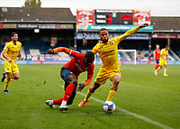 3rd October 2020; Kenilworth Road, Luton, Bedfordshire, England; English Football League Championship Football, Luton Town versus Wycombe Wanderers; Pelly Ruddock of Luton Town being challenged by Curtis Thompson of Wycombe Wanderers marking
