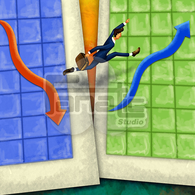 Businessman jumping from one chart to another depicting business leap