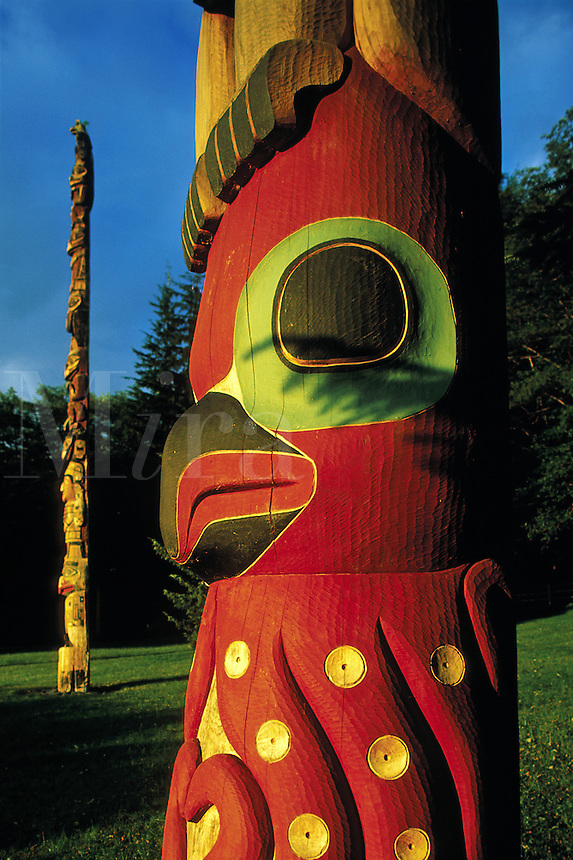 Detail of the painted face of a traditional Native Alaskan totem. Alaska.