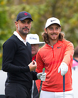 Pep Guardiola (Manchester City Manager) and Golfer Tommy Fleetwood during the BMW PGA PRO-AM GOLF at Wentworth Drive, Virginia Water, England on 23 May 2018. Photo by Andy Rowland.