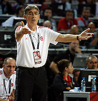 Bogdan TANJEVIC (Turkey) head coach, reacts during the semi-final World championship basketball match against Serbia in Istanbul, Serbia-Turkey, Turkey on Saturday, Sep. 11, 2010. (Novak Djurovic/Starsportphoto.com) .