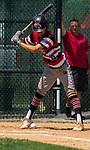 WATERBURY, CT 072821JS06 CT Gamecocks' Aiden Jovia (4) gets hit in the ankle by a pitch during their game against the Michigan Bulls in the opening round of the Mickey Mantle World Series at Municipal Stadium in Waterbury. <br /> Jim Shannon Republican American