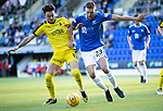 St Johnstone v Falkirk…24.07.18…  McDiarmid Park    Betfred Cup<br />Tom Owen-Evans and Liam Gordon<br />Picture by Graeme Hart. <br />Copyright Perthshire Picture Agency<br />Tel: 01738 623350  Mobile: 07990 594431